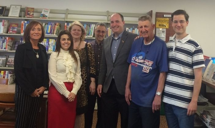 John Henry Graef Jr. was instrumental in launching the Rotary Job and Career Corner in the North Haven Library. In the Career Corner, from left: Rotarians Janet Manzi, Isabel Alvarez, Susan Pace, Bill Gambardella, President Brian Coughlin, Hal Ginter and Kyle Swartz.