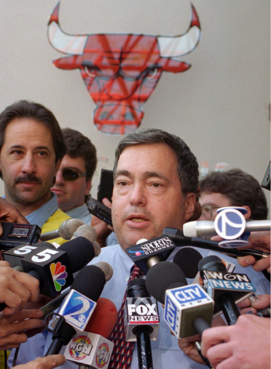 FILE - In this Oct. 2, 1995, file photo, Chicago Bulls general manager Jerry Krause speaks to the media in Deerfield, Ill., about trading center Will Perdue for the flamboyant San Antonio Spurs