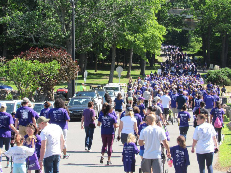 Runner, joggers, and participant walking during the Pancreatic Cancer Action Network's the Purple Stride walk in Hubbard Park. Saturday, June 15, 2019. | Jeniece Roman, Record-Journal