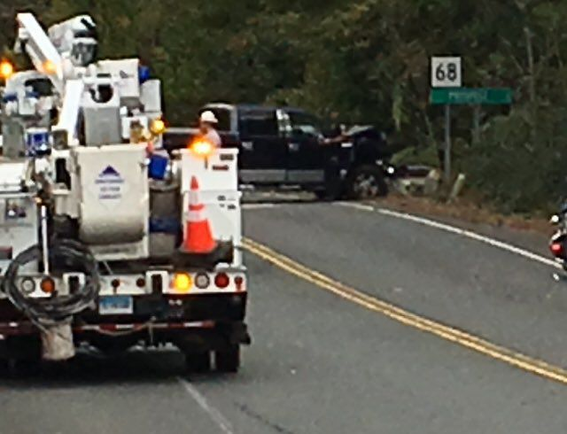 A section of Route 68 is closed after a car struck a pole. | Ryan Chichester, Record-Journal