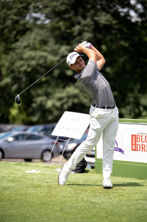 Cody Paladino, of Berlin, launches a drive at the the Ryan T. Lee Memorial Foundation