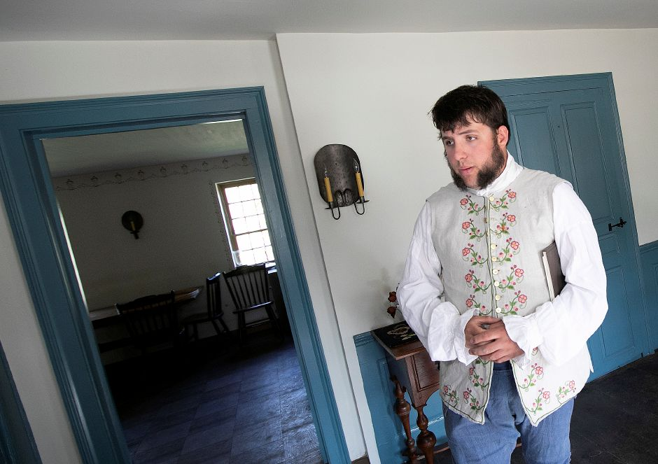 Joshua Dummitt, assistant curator, leads a tour through the rooms of the 1711 Solomon Goffe House, 677 N. Colony St. Meriden, Mon., May 6, 2019. The English Gambrel roofed house is the oldest in Meriden and listed on the National Register of Historic Places. Dave Zajac, Record-Journal