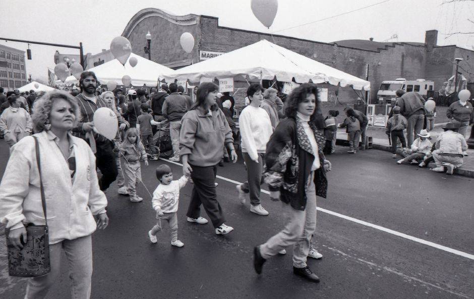 RJ file photo - Thousands jammed the downtown streets for the Meriden Expo Oct. 16, 1993.