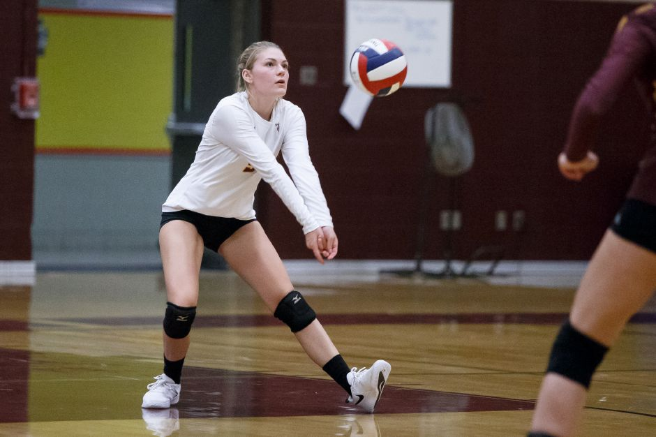 Emily Musso had 12 kills and eight digs to pace the Sheehan volleyball team in its 3-2 win over Foran on Monday. The Titans rallied from a 2-0 deficit. | Justin Weekes / Special to the Record-Journal