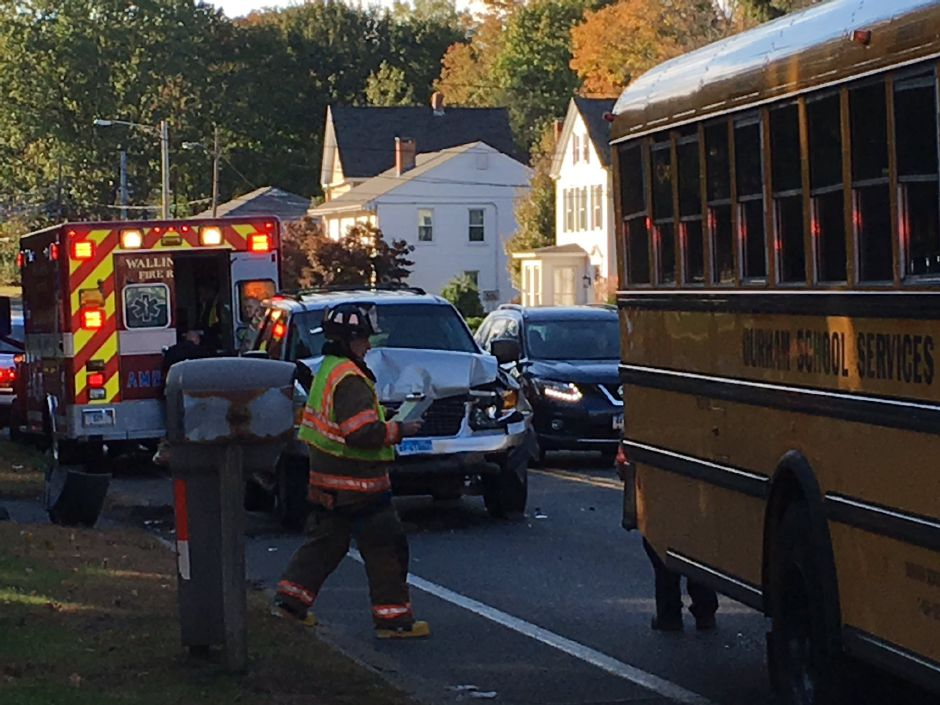 Emergency crews have responded to Route 68 after a car crashed into the back of a school bus. | Ryan Chichester, Record-Journal