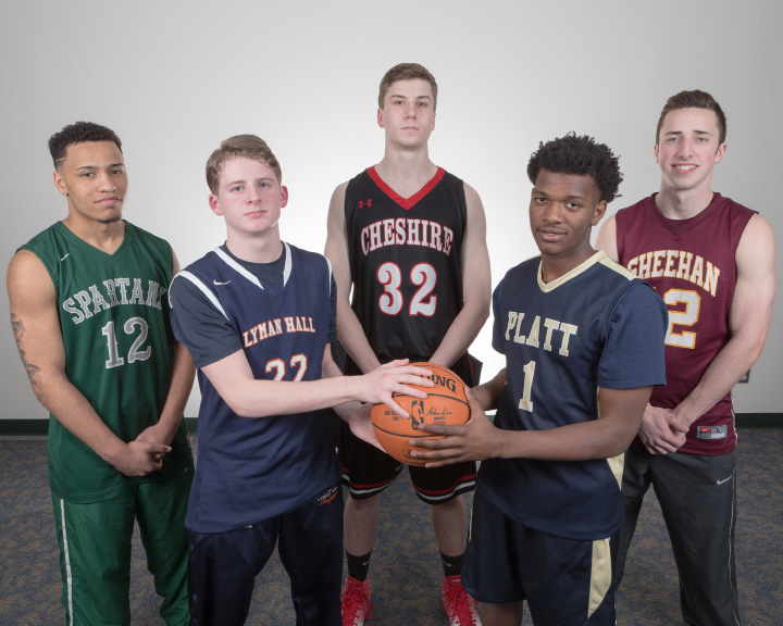 Introducing the 2017 All-Record-Journal Boys Basketball Team (left to right): Alejandro Ortiz of Maloney, Kevin Ransom of Lyman Hall, Drew Hart of Cheshire, Kejoun West of Platt and Kyle Brennan of Sheehan. | Justin Weekes, Special to the Record-Journal