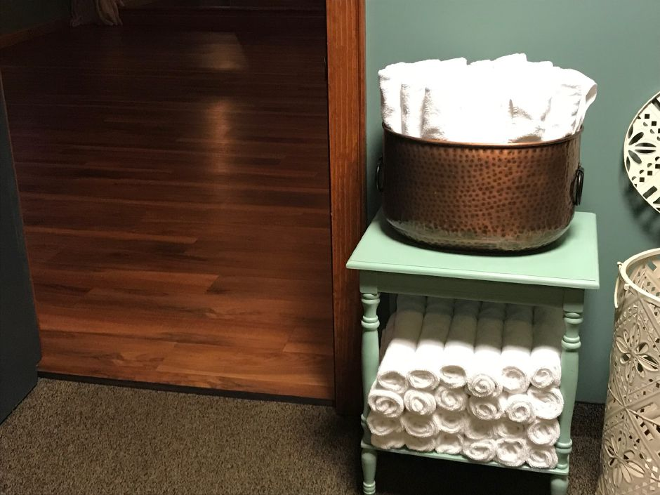 Towels at Bloom Yoga Fitness Studios, 92 North Summit St., Southington. |Ashley Kus, Record-Journal