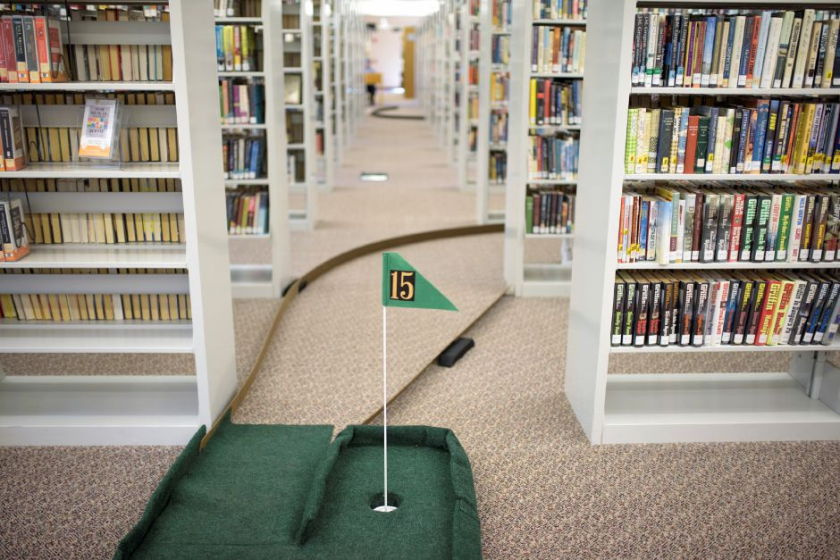 The Wallingford Public Library set up a mini-golf course on Saturday for ages 5+. Proceeds would benefit the library. Monica Jorge/Special to the Record-Journal