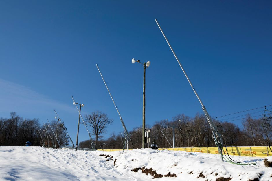 Snow-making tower guns at Powder Ridge Mountain Park and Resort in Middlefield, Monday, Dec. 11, 2017. Powder Ridge plans to open this Friday at 3pm. Dave Zajac, Record-Journal