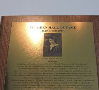 The plaque dedicated to nursing pioneer Martha Minerva Franklin during her posthumous induction into the Meriden Hall of Fame Sunday. The photo on the plaque is reportedly not Franklin. A city resident pointed out the error.