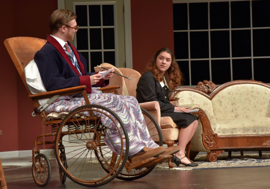 "Maloney High School theater students Weston Pytel and Lia Cruz rehearse ""The Man Who Came to Dinner"" on Monday night. The play opens this weekend, Thursday through Saturday. 