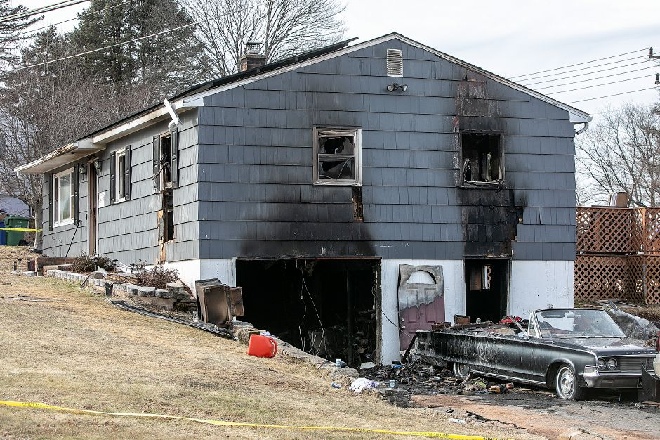 A house damaged by fire at 40 Side Hill Rd. in Meriden, Mon. Feb. 11, 2019. Dave Zajac, Record-Journal