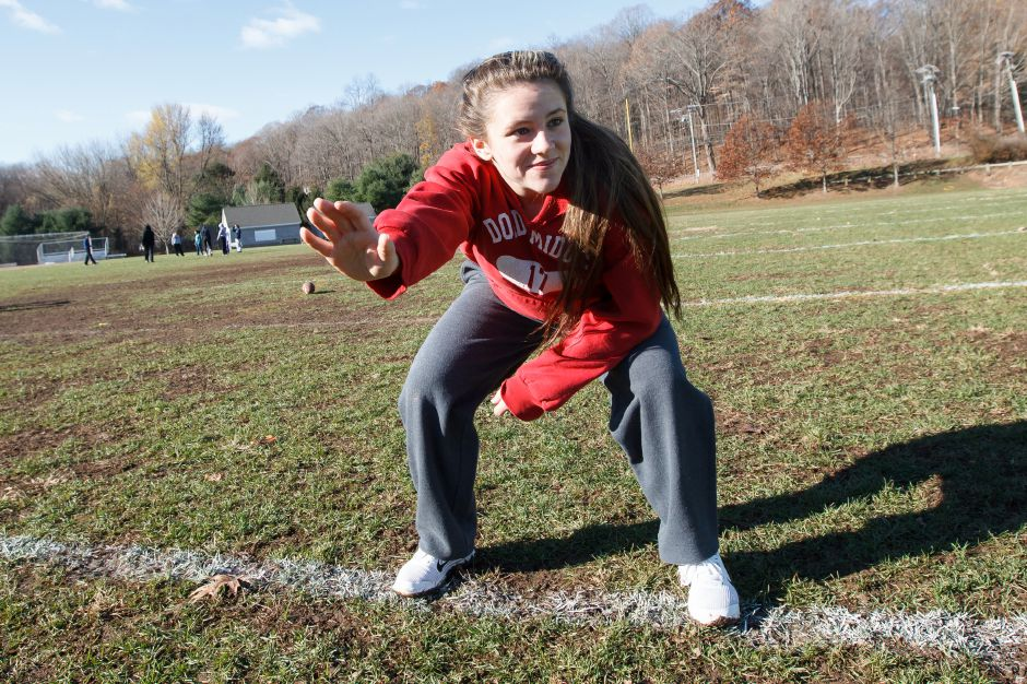 Haley Lewis 17 lines up for the defense Saturday during Powder Puff practice at Wilcox Tech in Meriden Nov 15, 2014 | Justin Weekes / For the Record-Journal