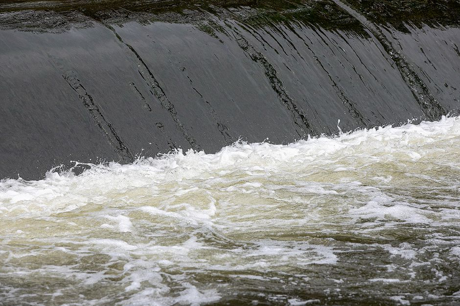 The Quinnipiac River flows over Wallace Dam in Wallingford, Thurs., May 2, 2019. Dave Zajac, Record-Journal