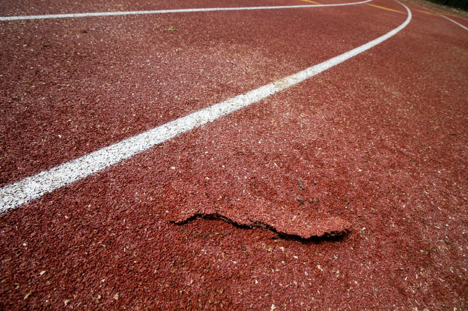 Damage to the track at Lyman Hall High School in Wallingford, Thursday, May 17, 2018. Dave Zajac, Record-Journal