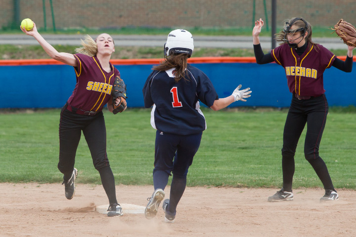 Sheehan's Emily Musso gets the force out at second base on Lyman Hall's Faith Barbieri  Wednesday at Lyman Hall High School in Wallingford.| Justin Weekes, Special to the Record-Journal
