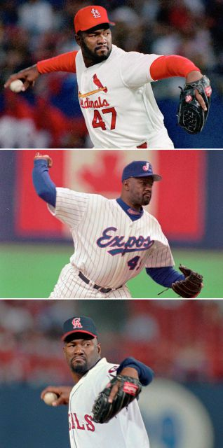 FILE - Top, in a 1993 file photo, St. Louis Cardinals reliever Lee Smith pitches in St. Louis. Middle, in an April 6, 1997, file photo, Montreal Expos