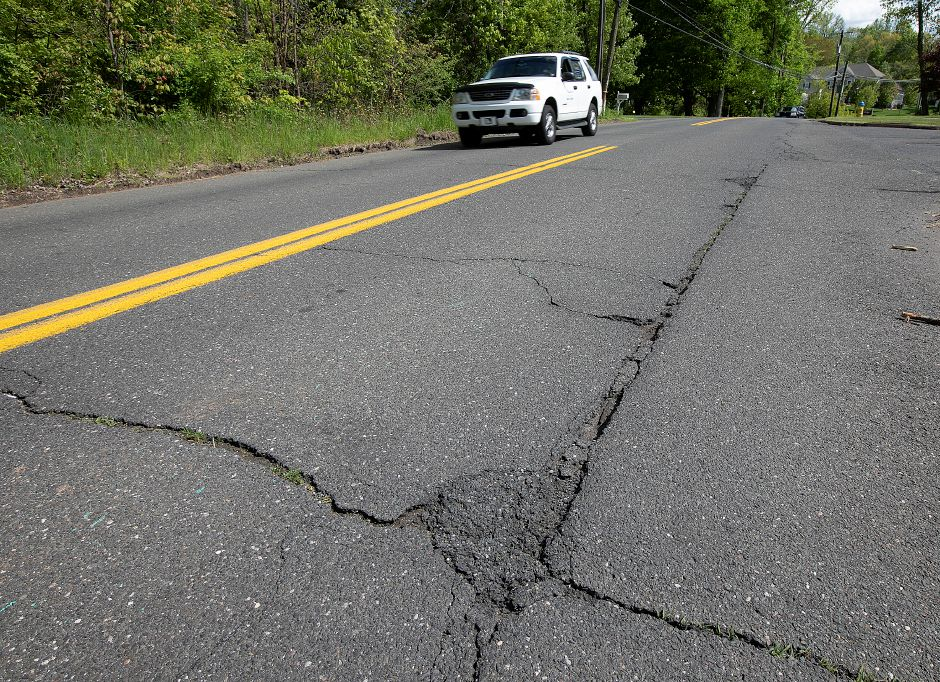 Road in need of repair on East Street in Southington, Wed., May 15, 2019. Dave Zajac, Record-Journal