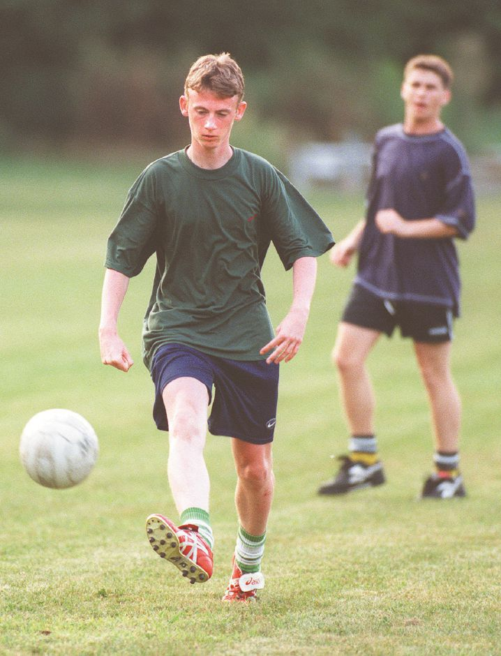 RJ file photo - Phillip Eaton of the Cromarsh Crows team of Wallingford, England, dribbles the ball downfield during a practice at the Woodhouse Avenue fields in preparation for the TWIST tournament, Aug. 1998.