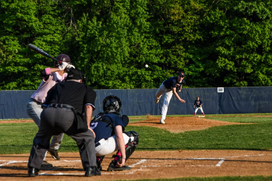 Colin Blake pitched a complete-game shutout against cross-town rival Sheehan in Lyman Hall's 4-0 Senior Night victory at Pat Wall Field on Friday. | Jim McGovern, Special to the Record-Journal
