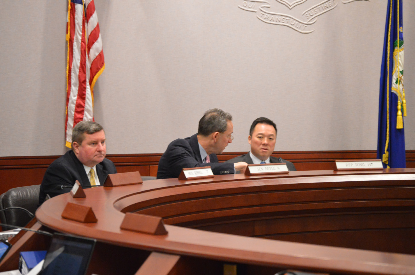 FILE PHOTO: From left to right, Sen. John Kissel, Sen. Paul Doyle and Rep. William Tong during a Judiciary Committee hearing Friday that took up several pieces of legislation, including a bill to require juveniles convicted of a sexual offense to register as a sex offender. | Mike Savino, Record-Journal
