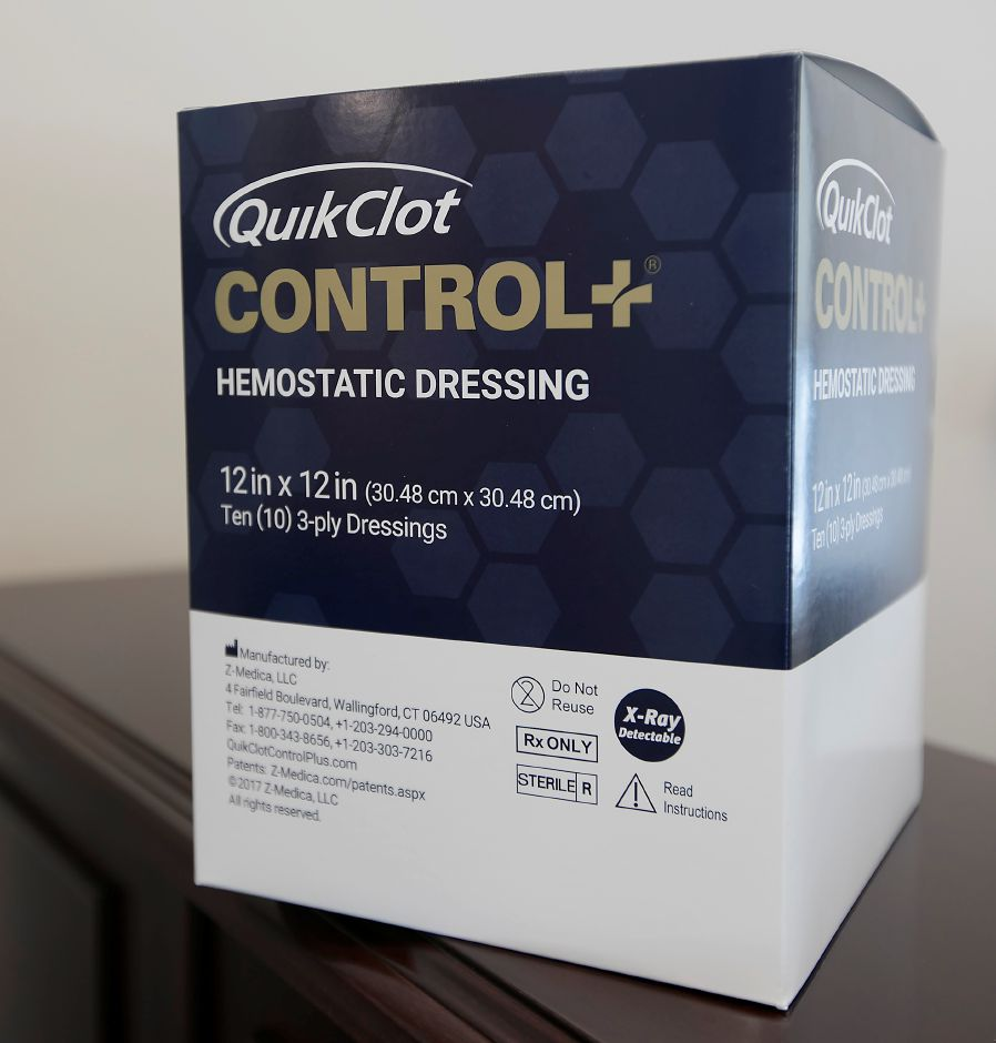 The new QuikClot Control +, now in production at Z-Medica in Wallingford, Monday, Jan. 8, 2018. QuikClot Control + is designed for surgical use domestically and abroad as a non-absorbable hemostatic dressing approved for internal organ space in severely bleeding patients. Dave Zajac, Record-Journal