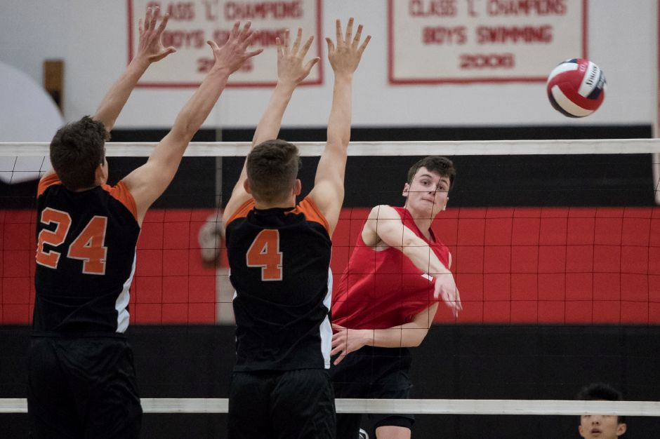 Cheshire senior Colby Hayes, named Player of the Year in the SCC, led the Rams to the conference crown Friday night in a 3-1 win over Daniel Hand. | Justin Weekes / Special to the Record-Journal