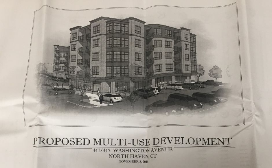 The proposed site plan for a multi-use development on Washington Avenue, approved by the Planning and Zoning Commission on Jan. 8, 2019, on file at the North Haven Land Use Office.