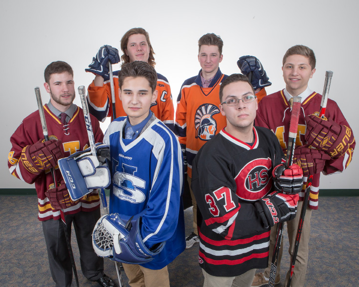 The 2017 All-Record-Journal ice hockey team features, in front, left to right, Hall-Southington's Zach Monti and Cheshire's Vinny Solla. In the back row, left to right, are Sheehan's Ben Naser, Lyman Hall Co-op teammates Hunter Boileau and Chris Blanchard, and Sheehan's Jimmy Notarfrancesco. | Justin Weekes, Special to the Record-Journal