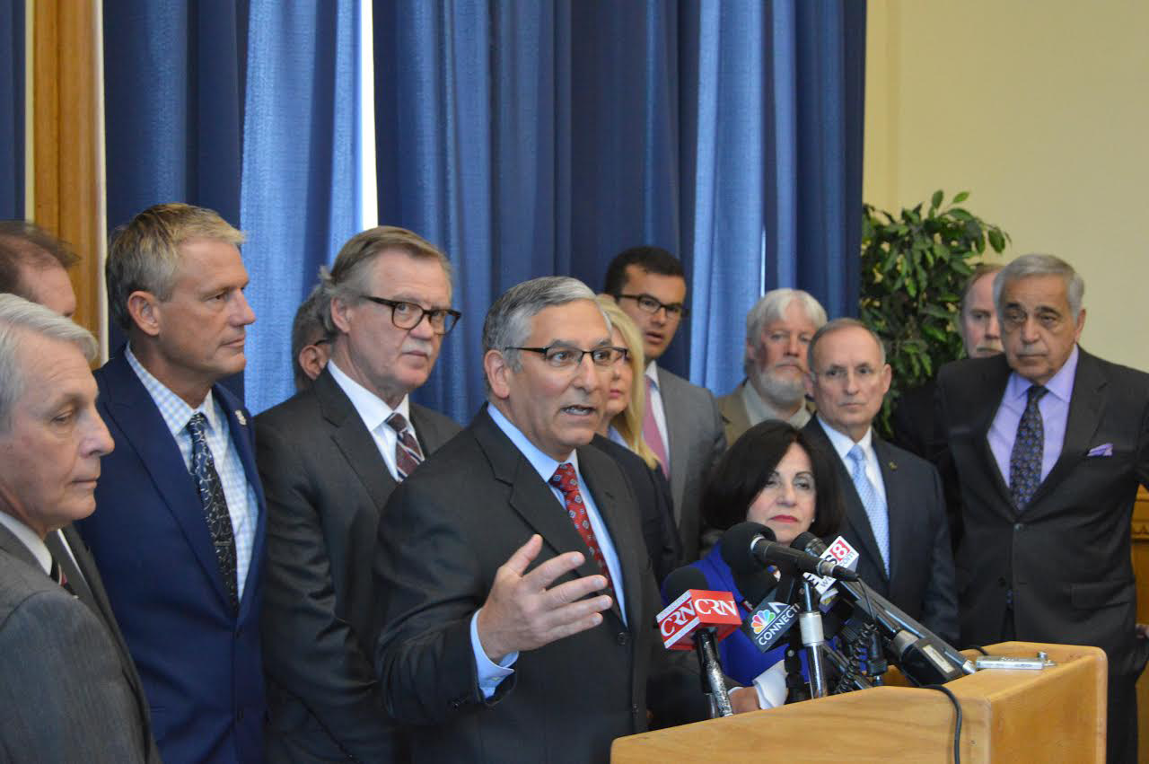 Senate Republican Leader Len Fasano, R-North Haven, backed by members of his caucus, argues that lawmakers could achieve more labor savings if they rejected a proposed concession agreement with state employee unions and took action legislatively. | Mike Savino, Record-Journal