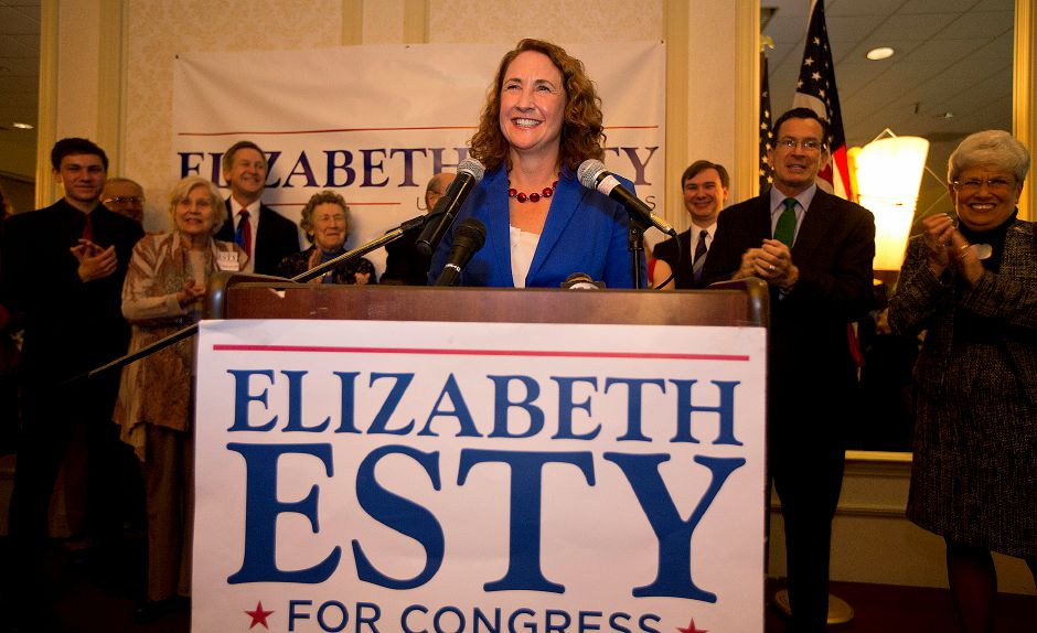 FILE PHOTO – Democrat Elizabeth Esty celebrates after winning a tight election on Tuesday November 7, 2012 in the 5th Congressional District as Republican Andrew Roraback conceded shortly after 11:30 p.m. Photo taken at CoCo Key Resort. (Matt Andrew/ For the Record Journal)
