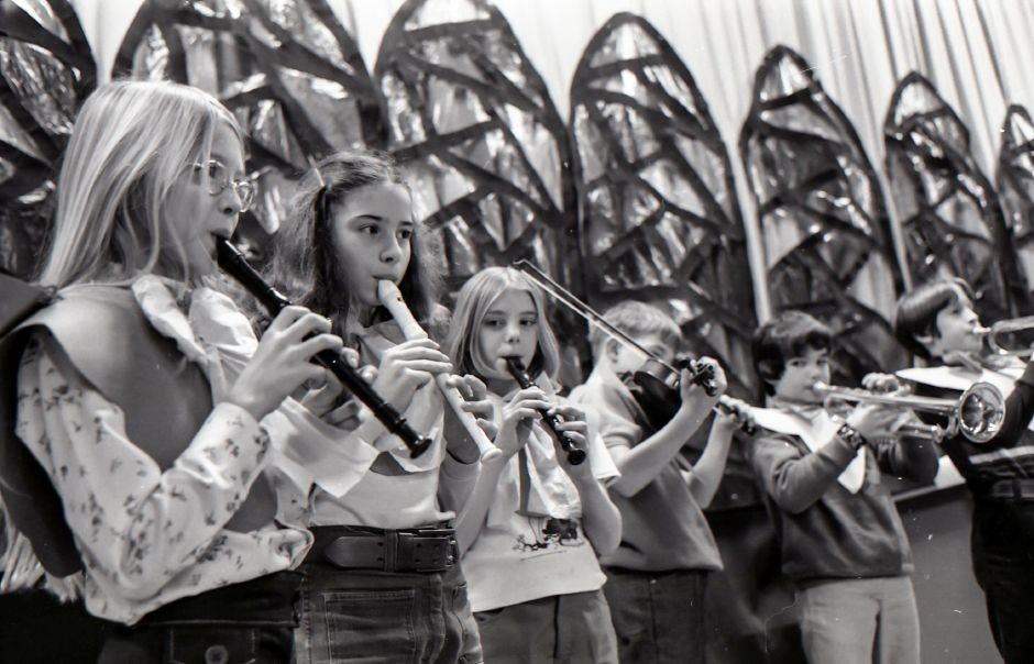 Pulaski School students rehearse for a Christmas program in Meriden, December 1975.