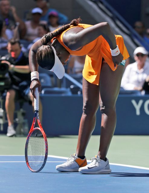 Sloane Stephens reacts after missing a shot against Anastasija Sevastova, of Latvia, during the quarterfinals of the U.S. Open tennis tournament, Tuesday, Sept. 4, 2018, in New York. (AP Photo/Carolyn Kaster)