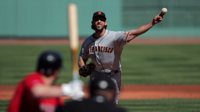 San Francisco Giants starting pitcher Madison Bumgarner delivers during the first inning of a baseball game against the Boston Red Sox at Fenway Park in Boston, Thursday, Sept. 19, 2019. (AP Photo/Charles Krupa)