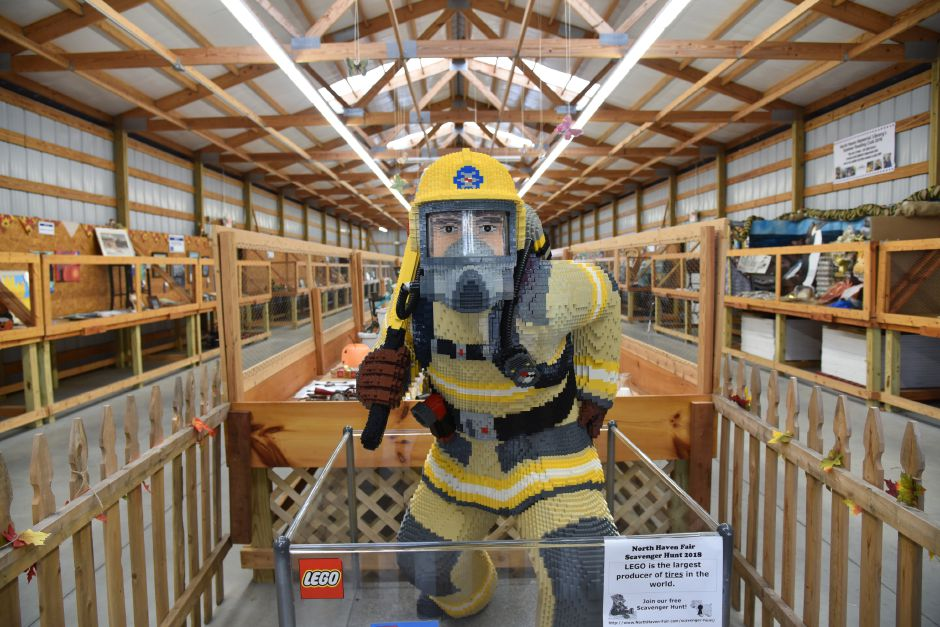 A LEGO City firefighter on display at the North Haven Fair on Friday, Sept. 7. The 76th annual fair was held Thursday through Sunday and included livestock, crafts, food, and amusement rides. | Bailey Wright, Record-Journal