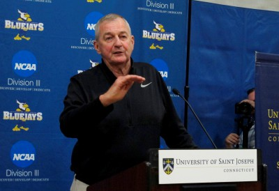 Jim Calhoun talks about his efforts in building a new basketball program at Saint Joseph, a Division III school, during a news conference on the school
