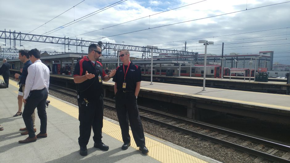 Thomas Mik, supervising technician waits for the Ctrail car Friday on the platform at Union Station in New Haven.