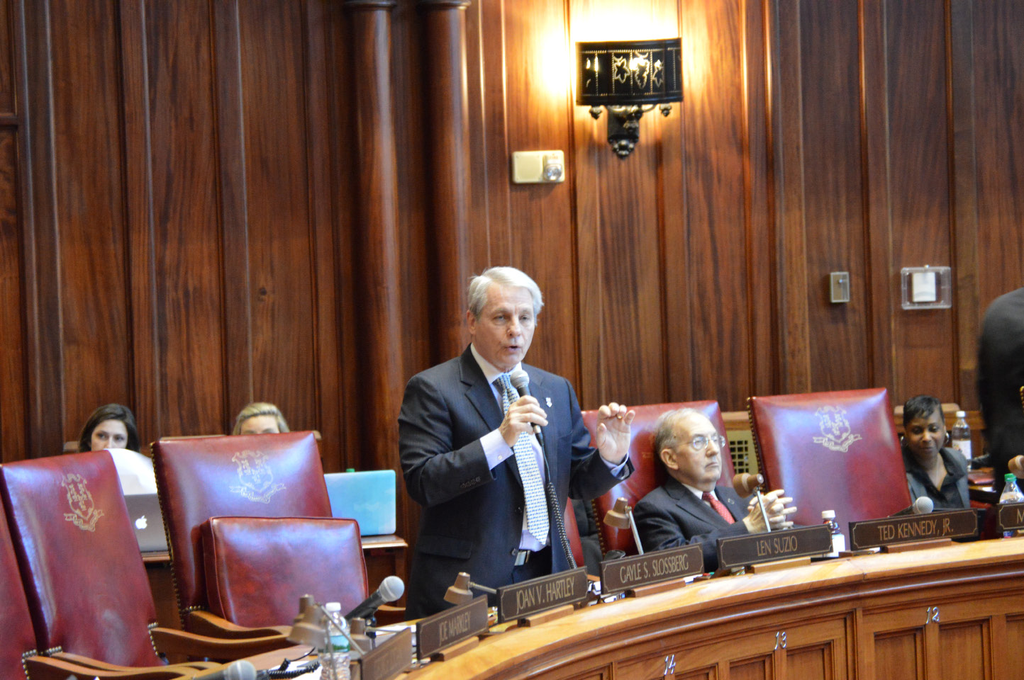 Sen. Len Suzio, R-Meriden, opposes the reappointment of Justice Richard Palmer during Wednesday's state Senate session. | Mike Savino, Record-Journal