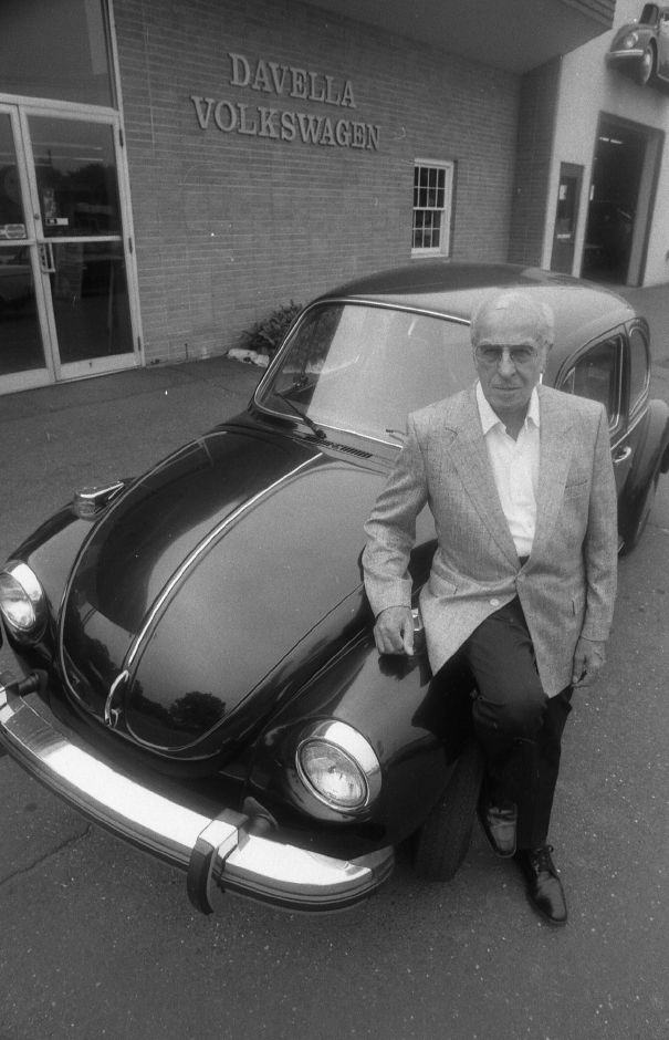 Frank Davella with a 1979 Volkswagen Beetle, Aug. 1989.