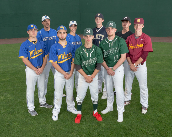 The All-Record-Journal baseball team: Front, from left, Jakob Thiede, Sebby Grignano and Jeff Massicotte. Rear from left, Jack Rich, John Mikosz, Jon Gray Carson Coon, Ben DeLaubell and Kyle Brennan. | Justin Weekes, Special to the Record-Journal