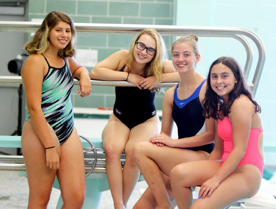 Meriden Co-op swimmers Samantha Morales-Barszcz, Haley Peacock, Julia Owen and Avery Benigni (left to right) are ready to launch the 2019 season at the Maloney pool.