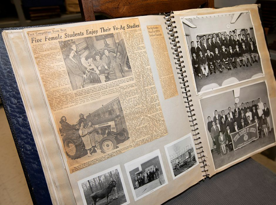 Photos and newspaper clippings in the first edition of the Future Farmers of America Official Scrap Book Lyman Hall Chapter, Tues., May 21, 2019.
