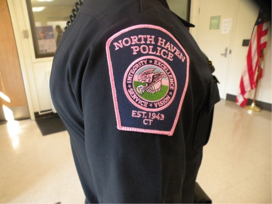86373f52f North Haven police personnel are wearing pink patches in October in support  of the Pink Patch