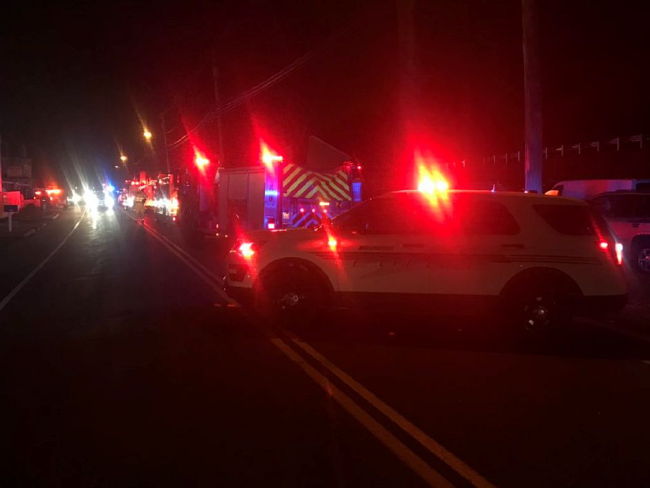 Police blocked off a section of Old Colony Road near Atwater Street while investigating a report of a pedestrian struck Friday March 1, 2019. | Bryan Lipiner, Record-Journal