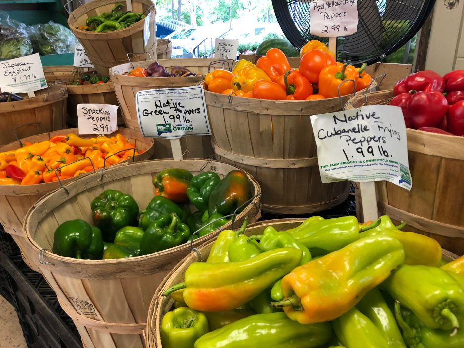 Barrels of Connecticut Grown peppers at Geremia Farms on Barnes Road in Wallingford.  Kristen Dearborn, special to the Record-Journal