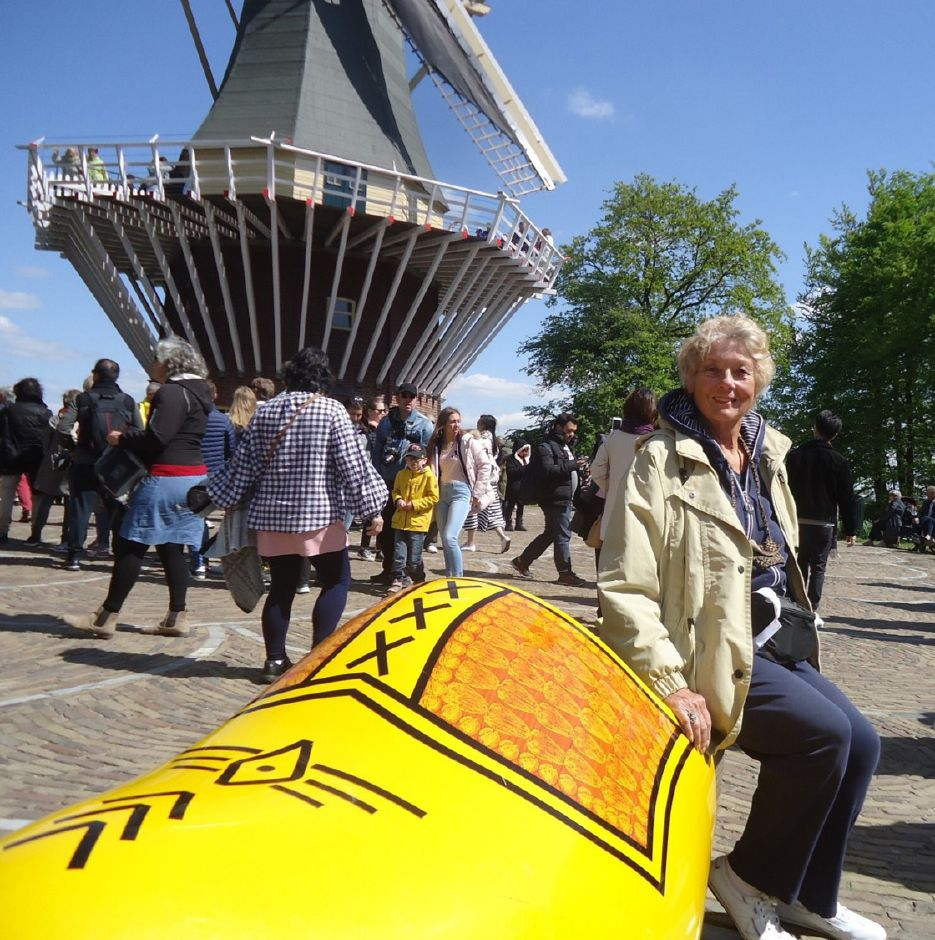 Jan Meinsen catches a quick rest on a Holland wooden shoe in Holland