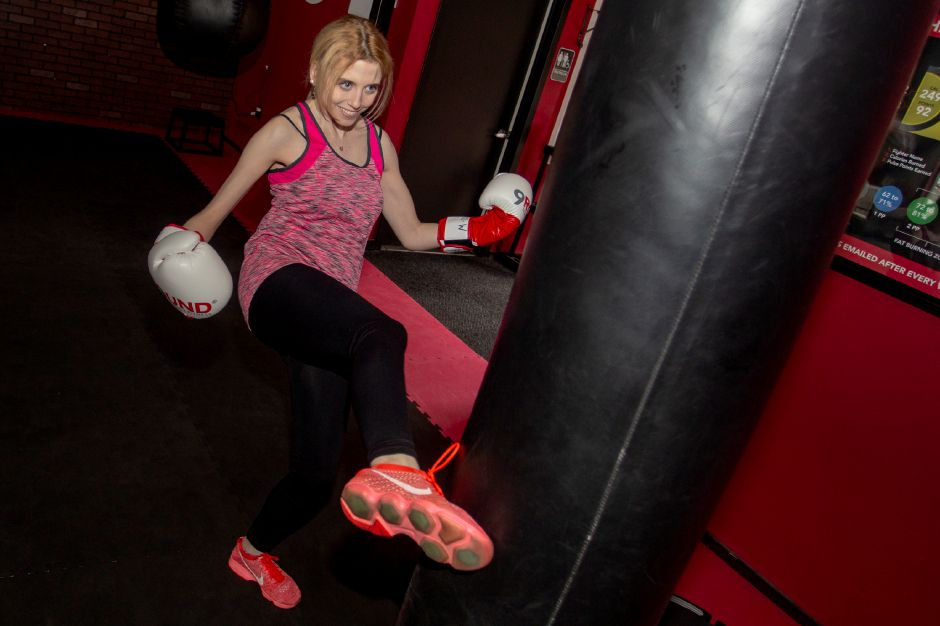 Record-Journal Digital Content Producer Ashley Kus learns to kick. Richie Rathsack, Record-Journal