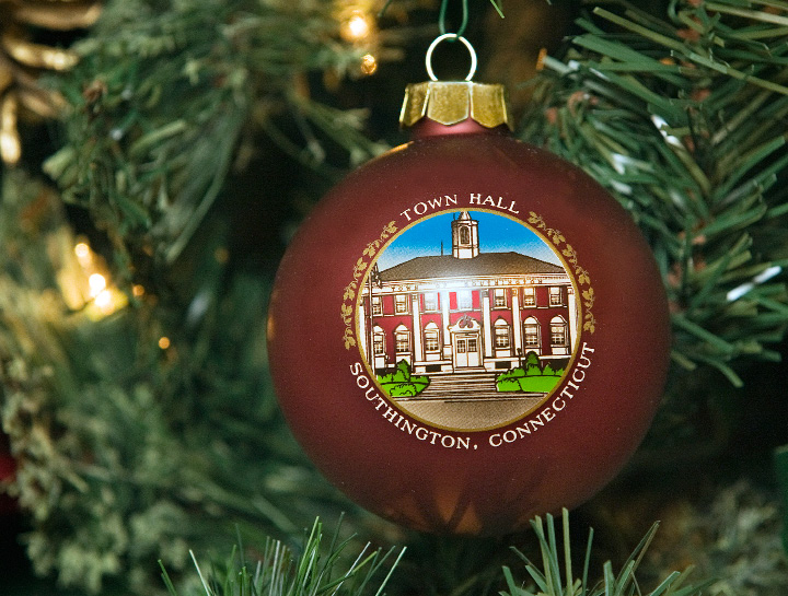 A Town Hall Christmas ornament hangs on a tree at the Barnes Museum in Southington. | Dave Zajac, Record-Journal