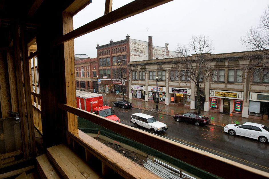 View of Colony Street from a second floor apartment under construction at 24 Colony St. in Meriden, Wednesday, February 24, 2016. | Dave Zajac / Record-Journal