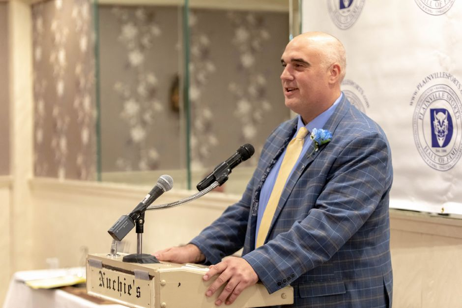 Plainville High School baseball and football player Scott Redmen was inducted into the Plainville Sports Hall of Fame on Oct. 6, 2018. | Devin Leith-Yessian/Plainville Citizen